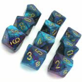 Purple & Teal Gemini D10 Ten Sided Dice Set